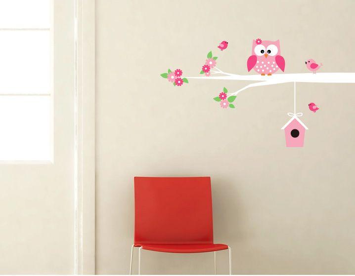 Behang Kinderkamer Vogeltjes : Exclusive muursticker uiltje en vogeltjes op tak muurstickers