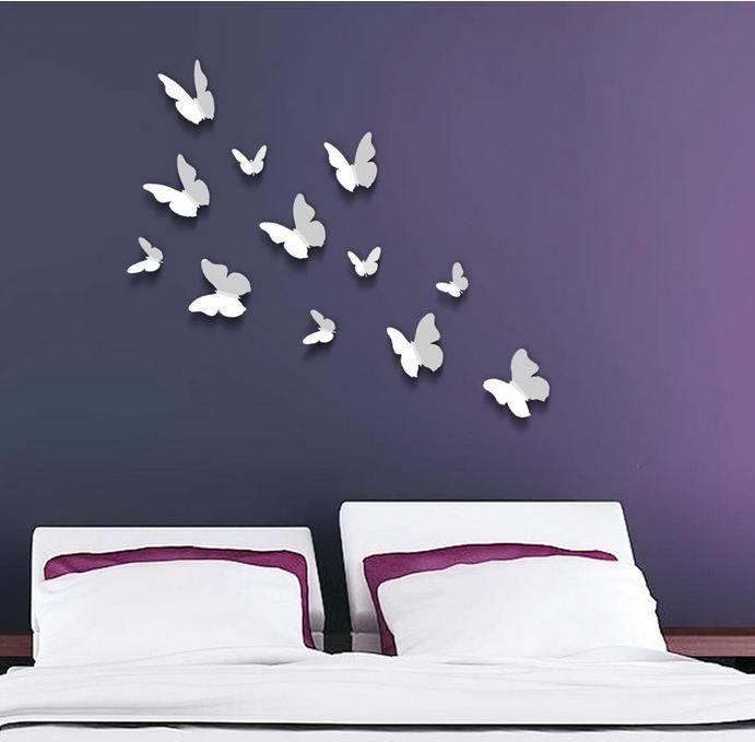 3d vlinders wit goedkoop bestellen for Muurdecoratie babykamer