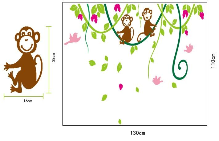 Muurstickers Kinderkamer Jungle : Muursticker Aapjes in Jungle ...