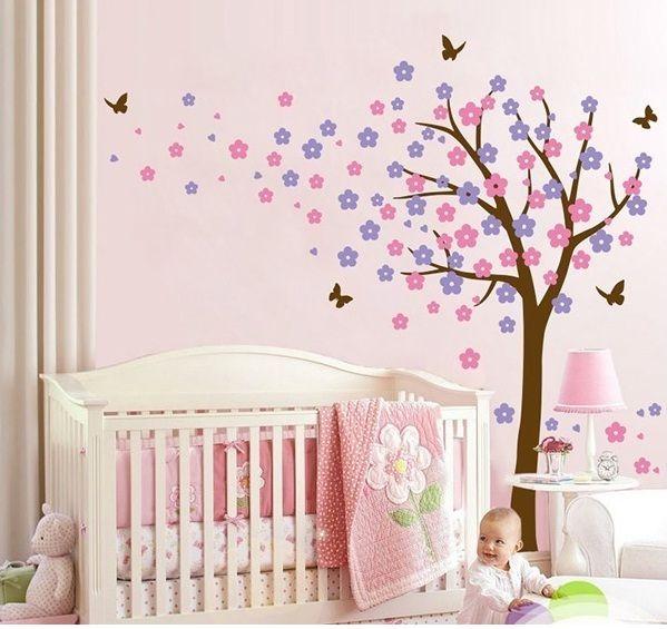 Bloesemboom xl roze paars muurstickers babykamer kinderkamer - Deco kinderkamer ...