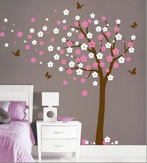 Behang Kinderkamer Vlinders : Bloesemboom xl roze wit muurstickers ...