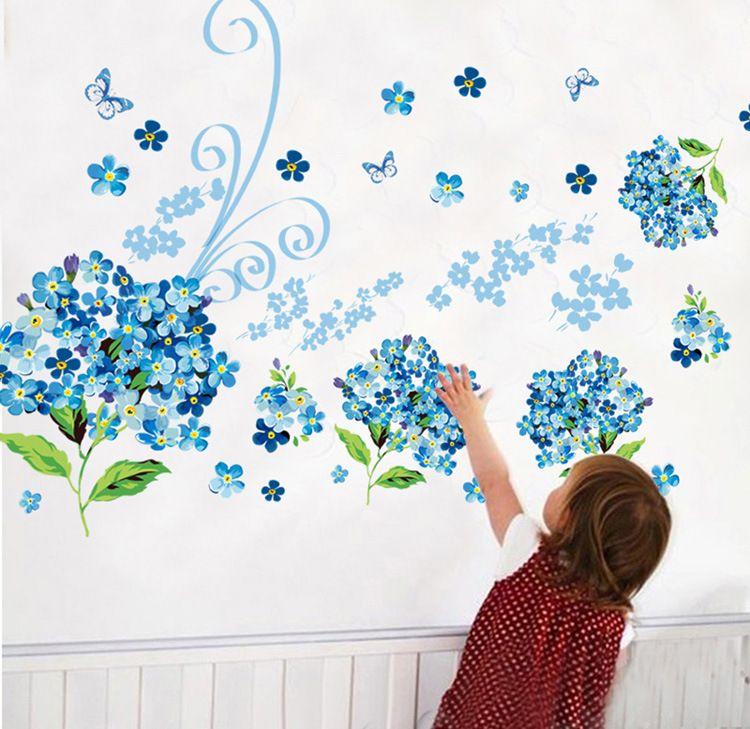 Muursticker Bloemen Blauw - Muurstickers Babykamer & Kinderkamer