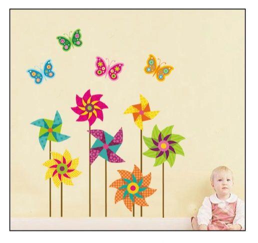 Muursticker-Bloemen-Vlinders