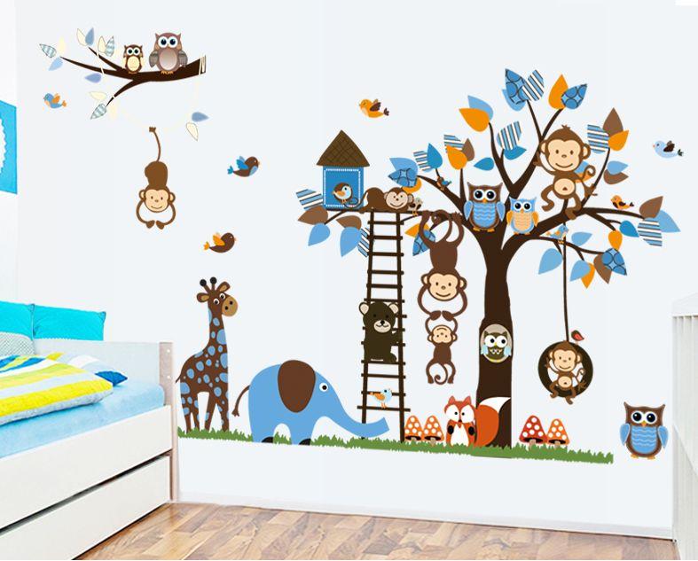 Muurstickers Kinderkamer Jungle : Owl Tree Wall Sticker