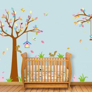 Muursticker-Boom-Kinderkamer-met-Eekhoorntjes-en-Vogeltjes