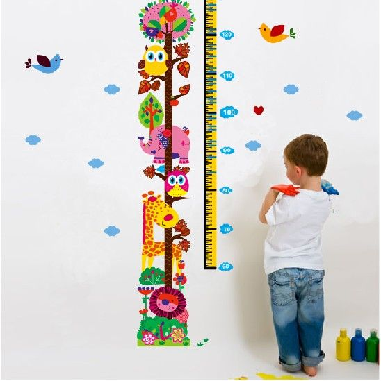 Muursticker groeimeter dieren muurstickers babykamer for Extra mural classes
