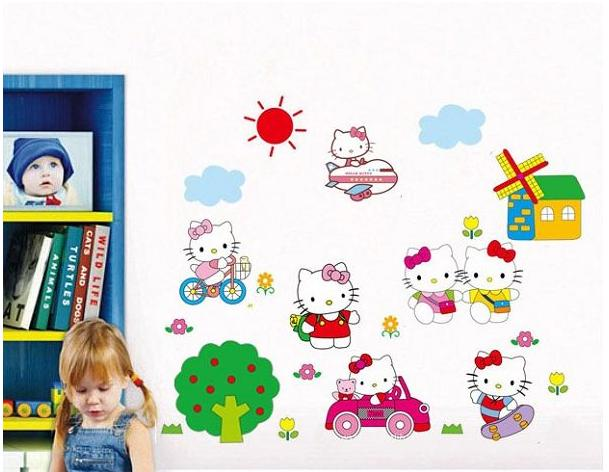 Kinderkamer Hello Kitty : Muursticker Hello Kitty - Muurstickers ...