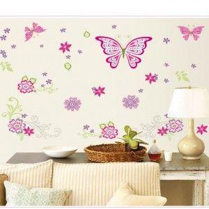 Muursticker-Vlinder-Roze
