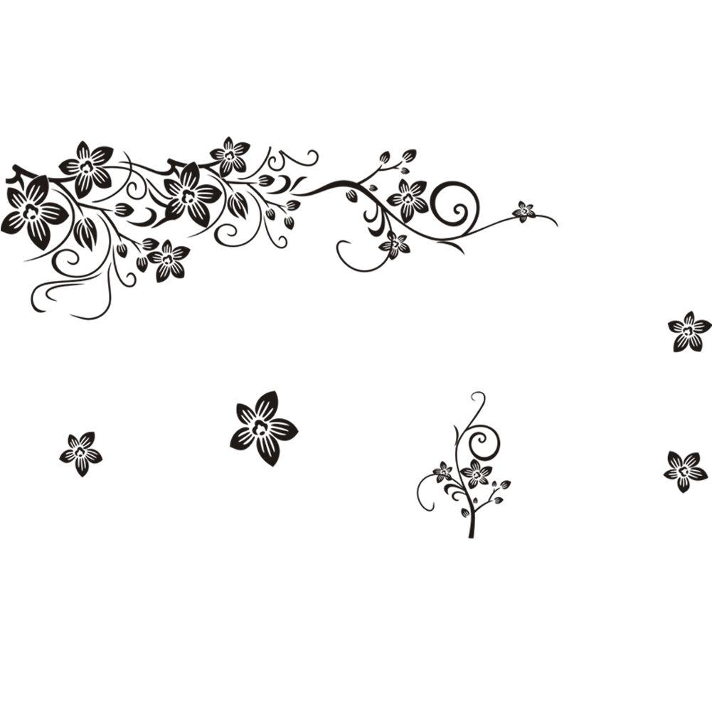 Muurstickers Bloemen Zwart - Muurstickers Babykamer & Kinderkamer