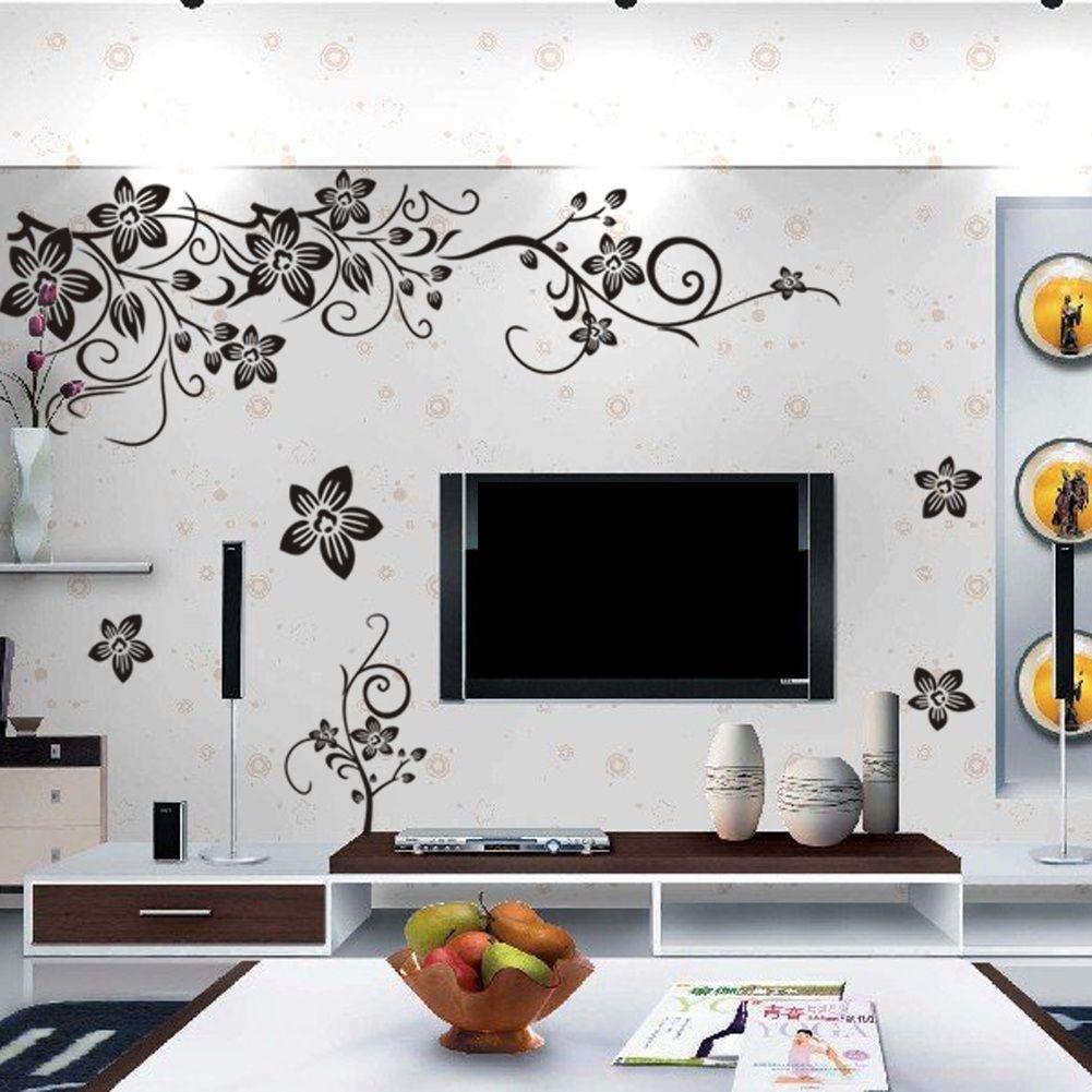muurstickers bloemen zwart muurstickers babykamer