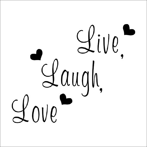 Muurstickers Live Laugh Love Diverse Kleuren