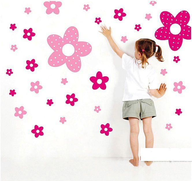 Muurstickers Roze Bloemen - Muurstickers Babykamer & Kinderkamer