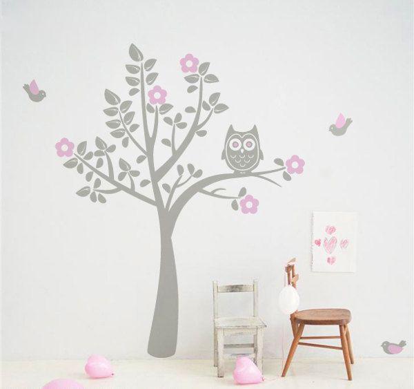 Muursticker Uiltje in Boom (grijs roze) - Muurstickers Babykamer ...
