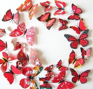 Kleurrijke 3D vlinders Rood