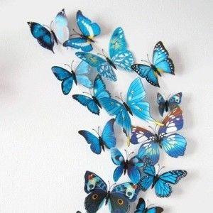 Kleurrijke 3D vlinders blauw 1