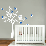 Exclusive Muursticker Uiltje in Boom (wit blauw)