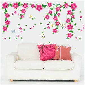 Muursticker Roze Tak Bloemen