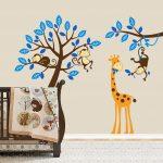 Exclusive Muursticker Boom met Aapjes en Giraffe (Blauw) (1)