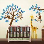Exclusive Muursticker Boom met Aapjes en Giraffe (Blauw) (4)