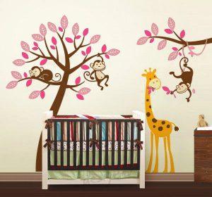 Exclusive Muursticker Boom met Aapjes en Giraffe (Roze) (3)