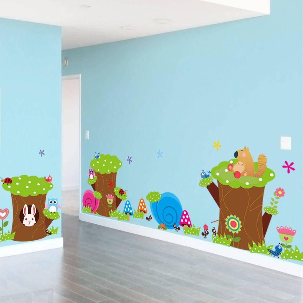 Muursticker boomstam dieren muurstickers babykamer for Sticker para pared infantiles