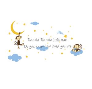 Muursticker Twinkle Little Star Aapjes