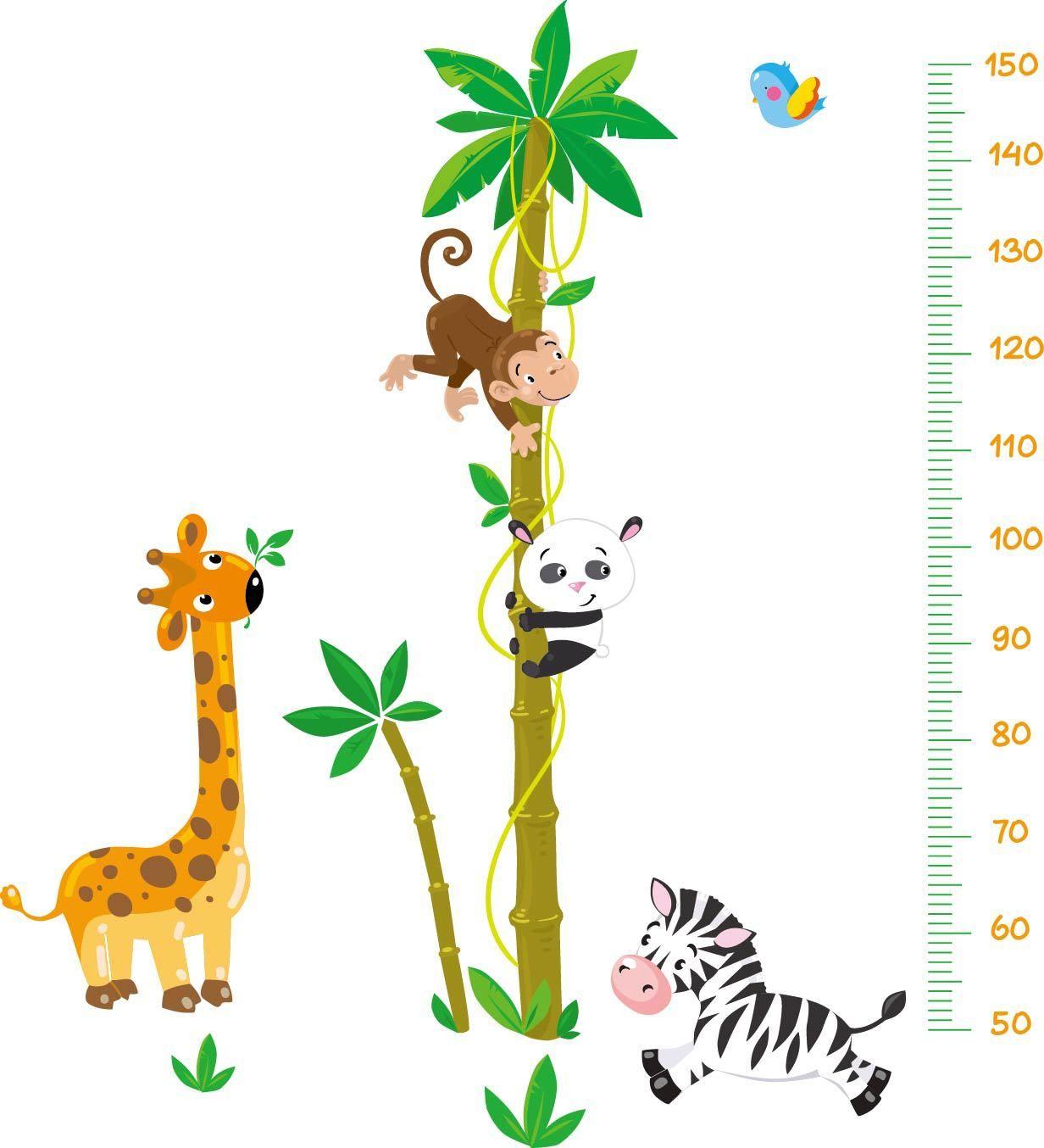 Muursticker Jungle Groeimeter - Muurstickers Babykamer & Kinderkamer