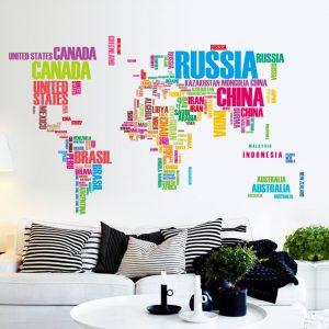 Muursticker Wereldkaart Kleur