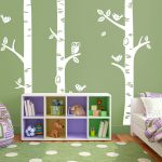 Exclusive Muurstickers Bomen met Uil (Wit)