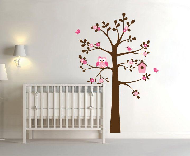 ... Boom met Uil en Vogelhuisje - Muurstickers Babykamer & Kinderkamer