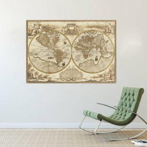 Muursticker Oude Wereldkaart