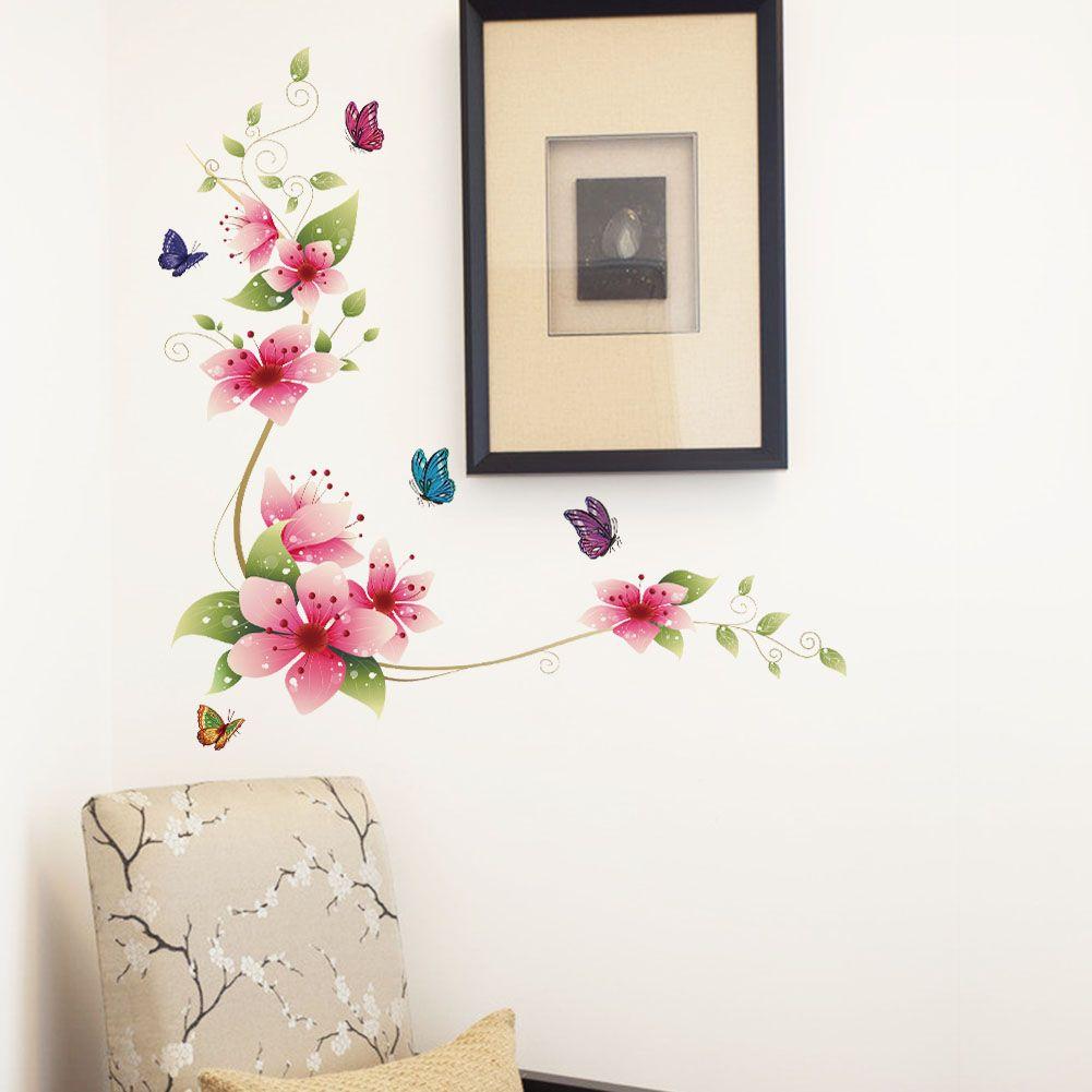 muursticker bloem vlinders muurstickers babykamer