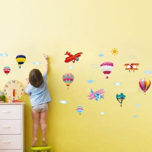 Muursticker Vliegtuigen Luchtballonnen