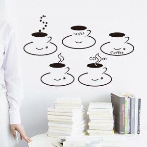 Muursticker Coffee Cups