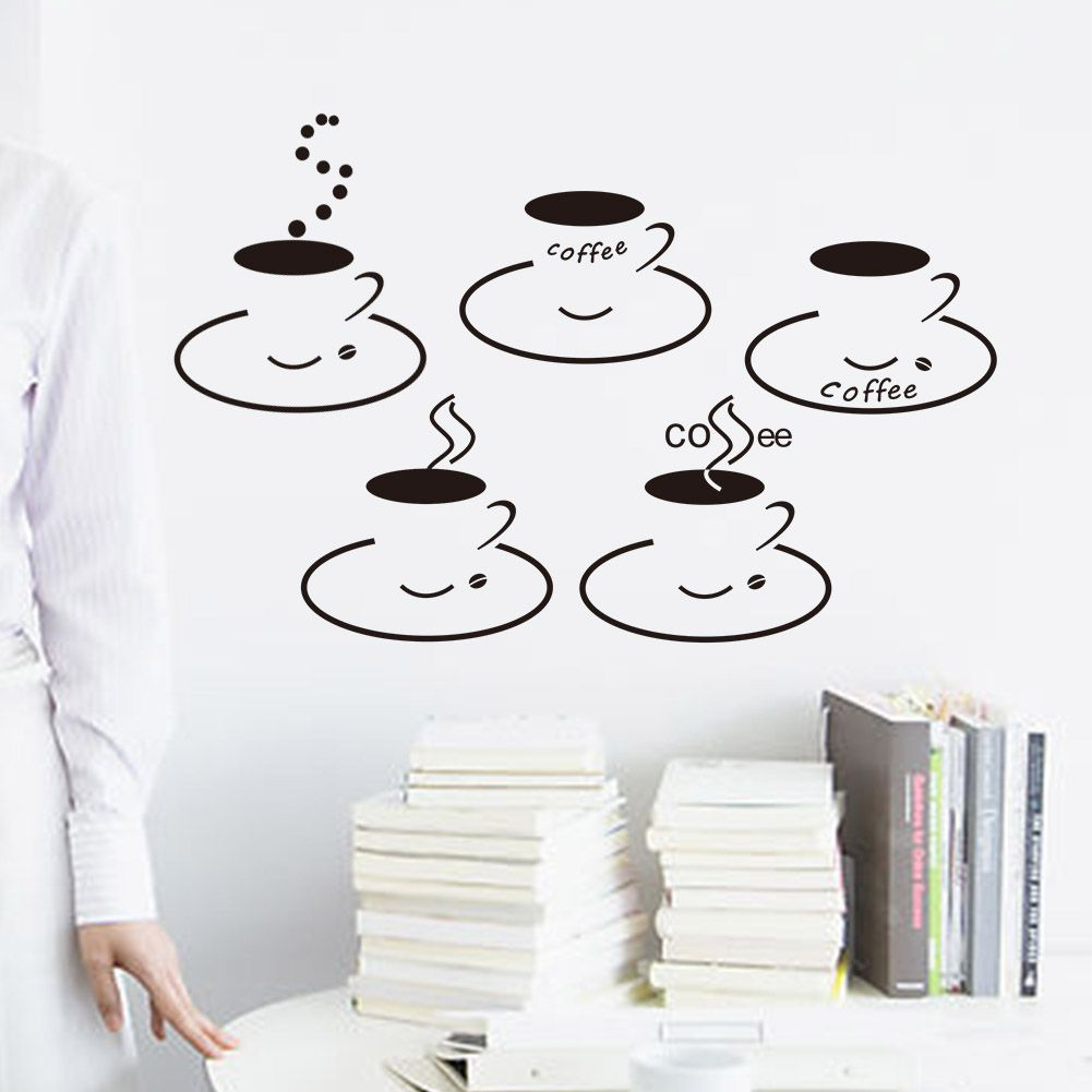 Muursticker Coffee Cups