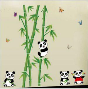Muursticker Bamboe Panda Beren