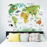 Muursticker Dieren Wereldkaart