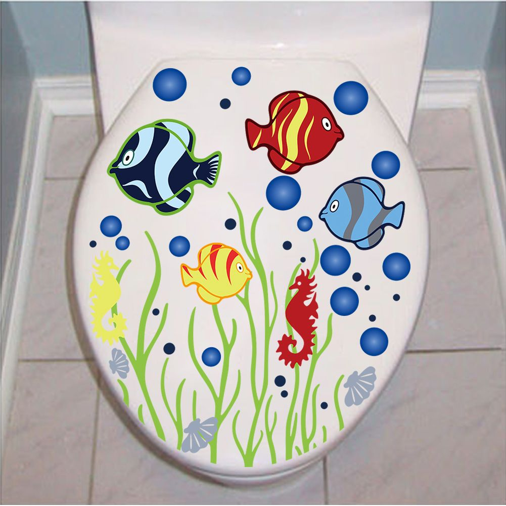 Muursticker Vissen Toilet