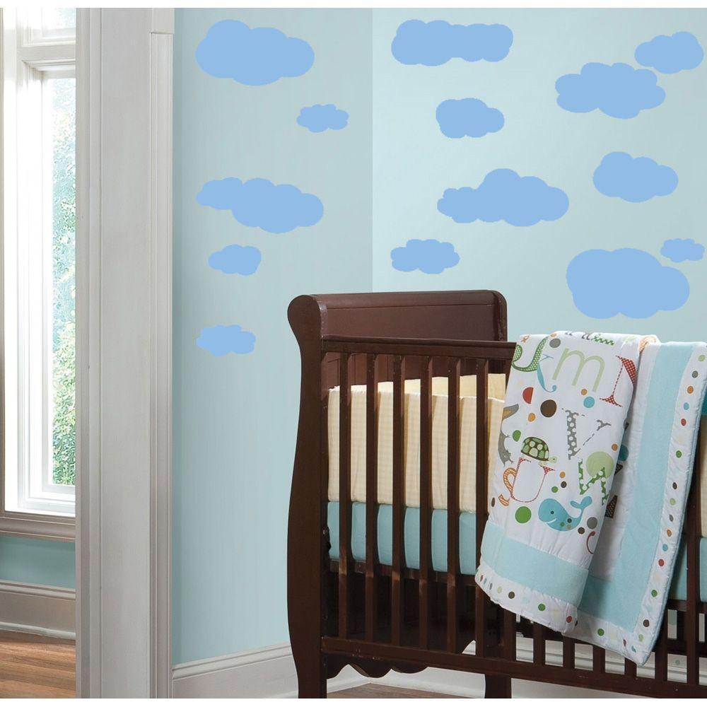 Exclusive Muursticker Wolken (Licht Blauw)
