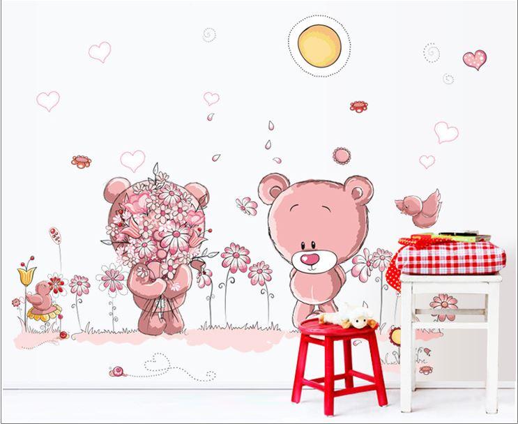 Muursticker Roze Beertje Bloemen