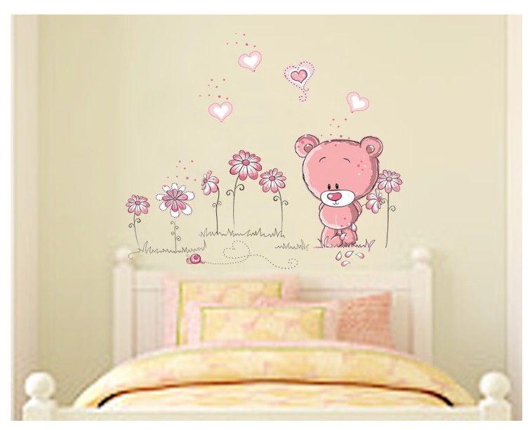 muursticker roze beertje
