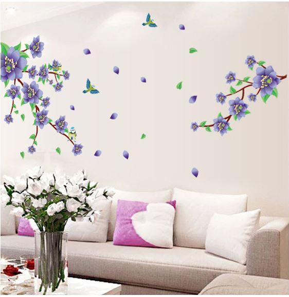 Muursticker paarse bloemen tak met Vogels