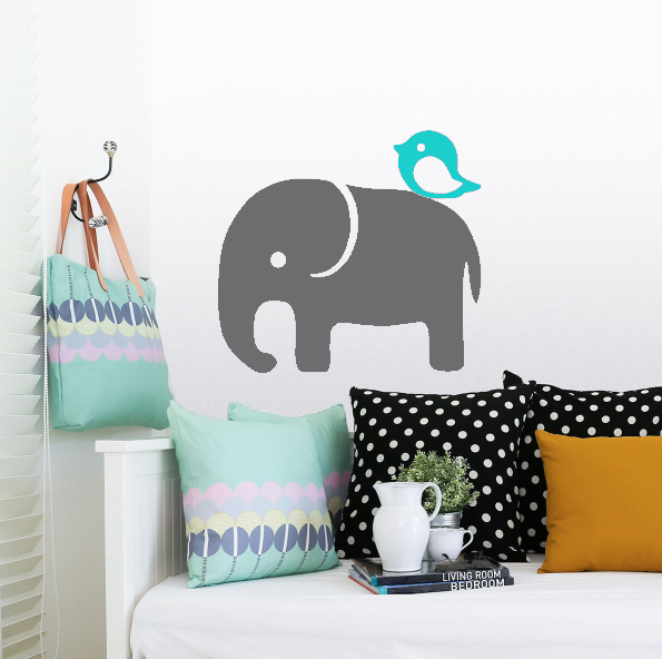 Exclusive Muursticker Olifant en Vogeltje (grijs mint)