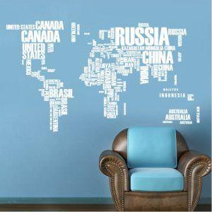 Muursticker Wereldkaart Wit