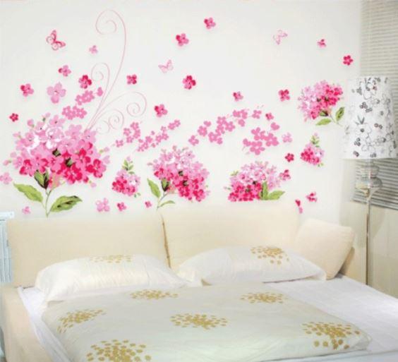 muurstickers bloemen roze muurstickers babykamer kinderkamer