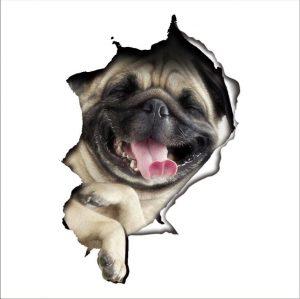 Muursticker Mops Hond
