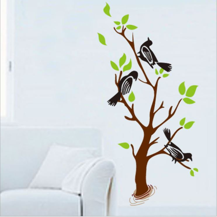 Muursticker Boom met 3 Vogels