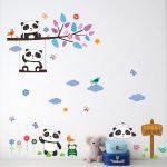 Muursticker Pandabeertjes op Tak