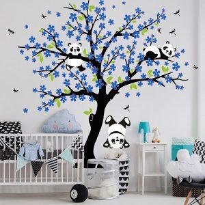 Muursticker Boom Pandabeertjes (blauw)