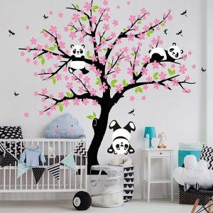 Muursticker Boom Pandabeertjes (roze)